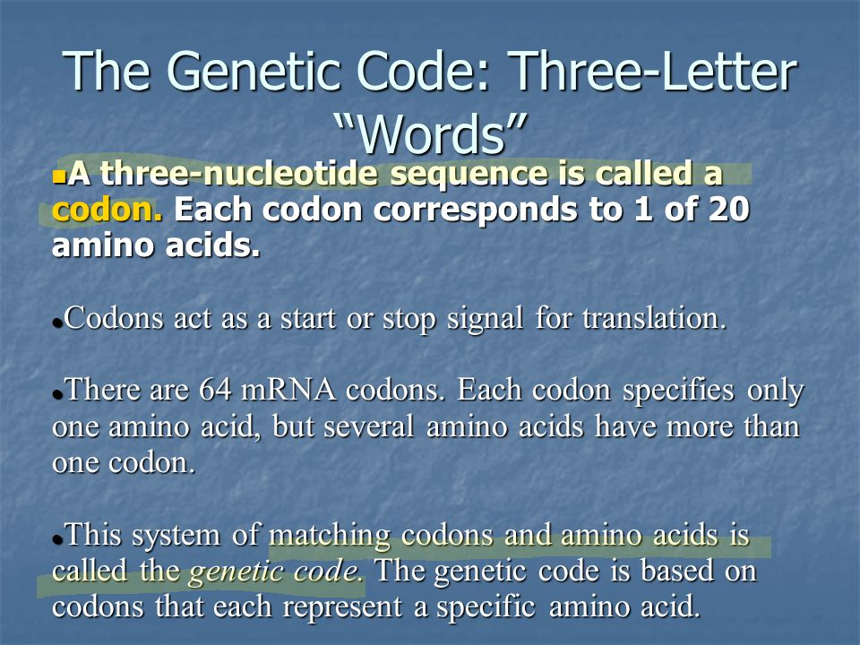 The Genetic Code: Three-Letter Words