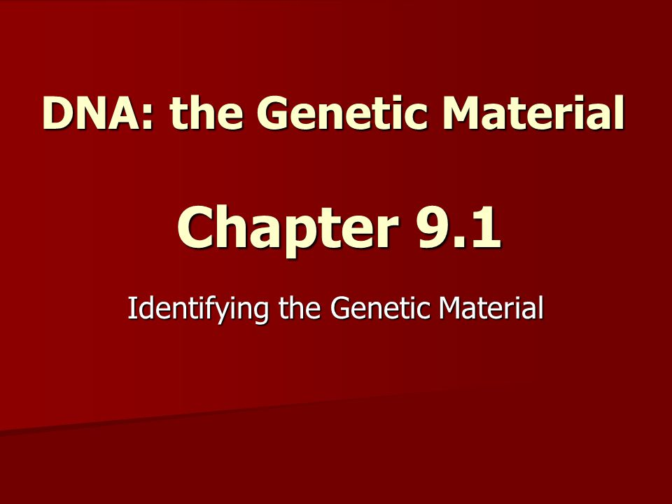 DNA: the Genetic Material Chapter 9.1