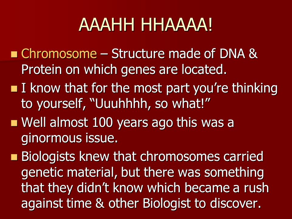 AAAHH HHAAAA! Chromosome – Structure made of DNA & Protein on which genes are located.
