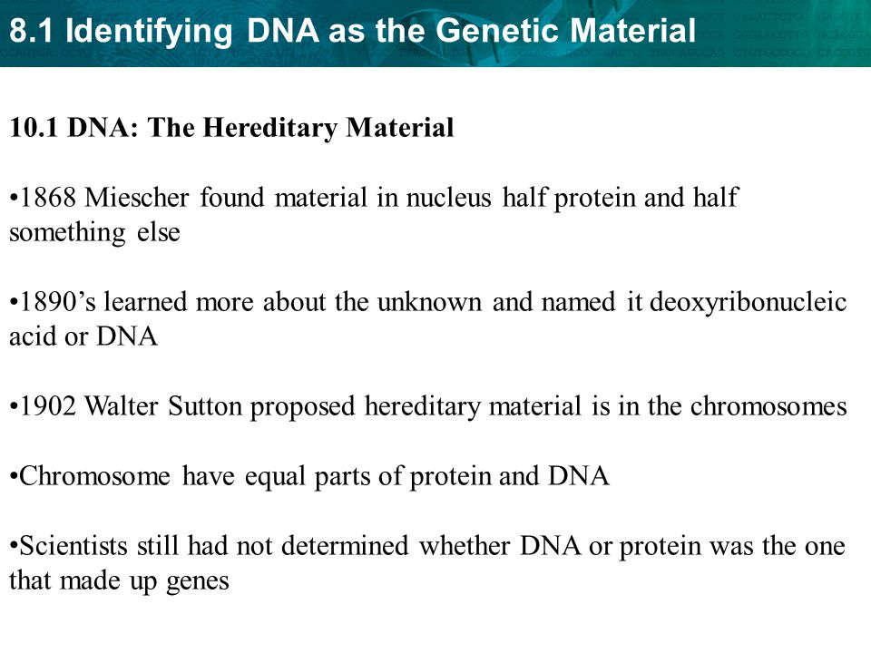10.1 DNA: The Hereditary Material