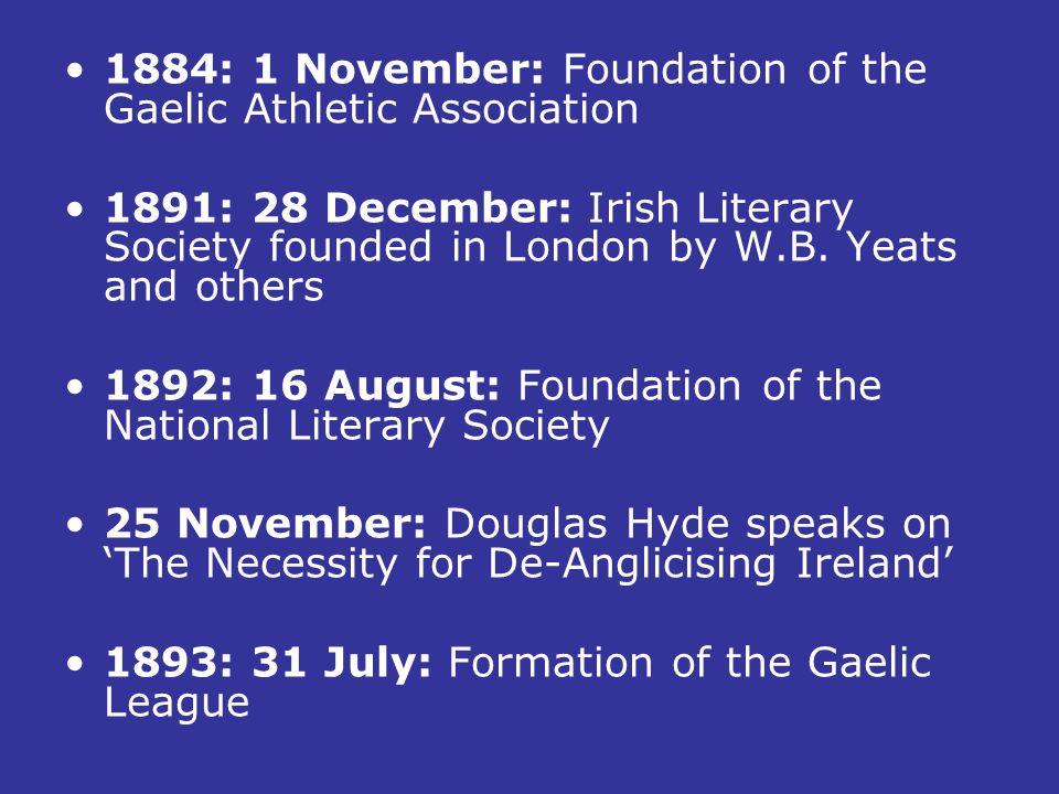 1884: 1 November: Foundation of the Gaelic Athletic Association