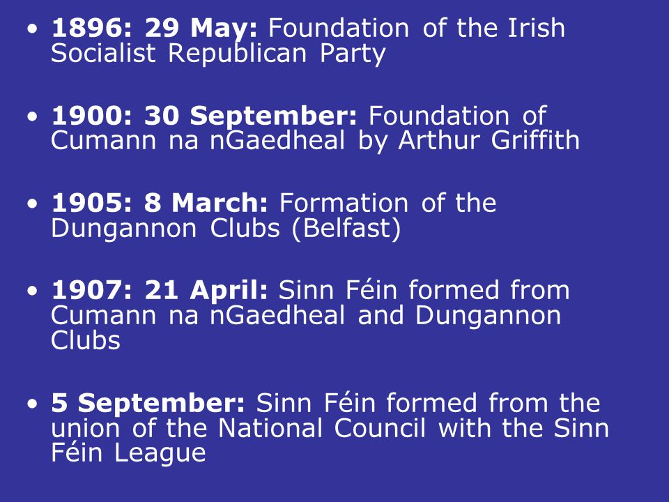 1896: 29 May: Foundation of the Irish Socialist Republican Party