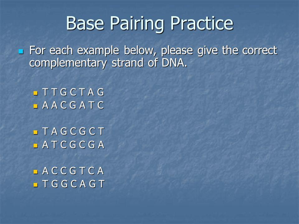 Base Pairing Practice For each example below, please give the correct complementary strand of DNA. T T G C T A G.