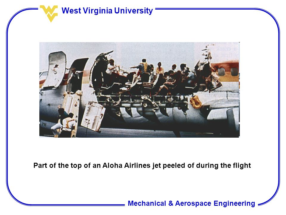 Part of the top of an Aloha Airlines jet peeled of during the flight