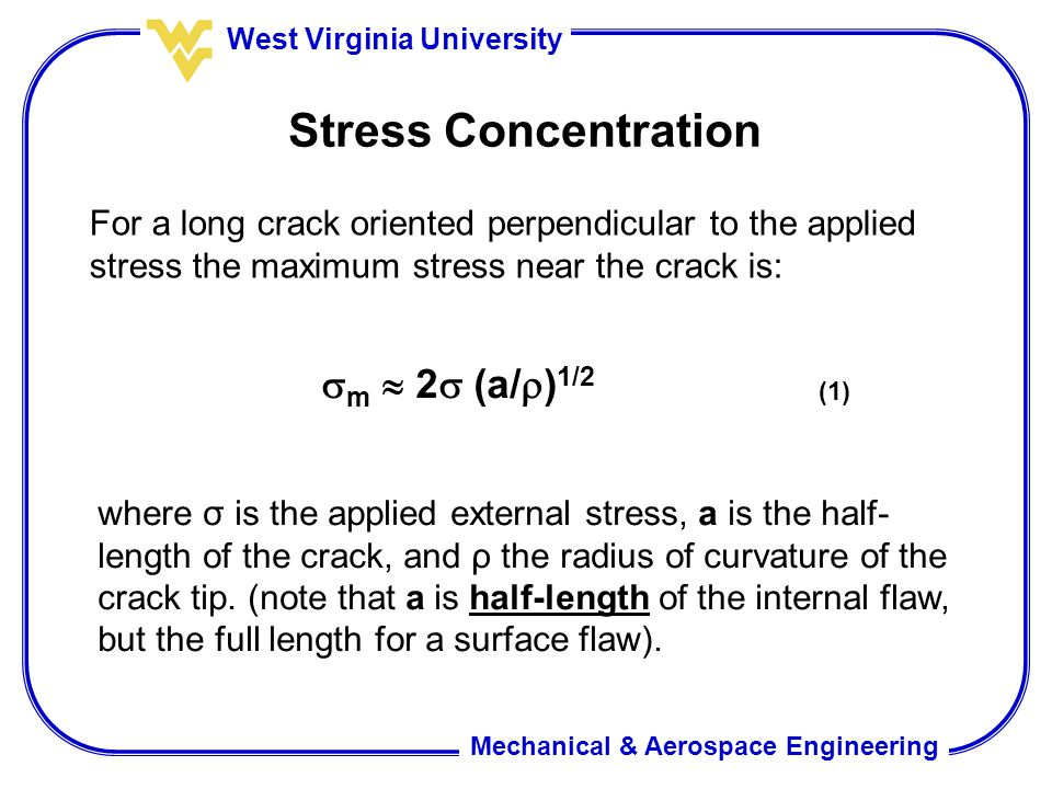 Stress Concentration m  2 (a/)1/2