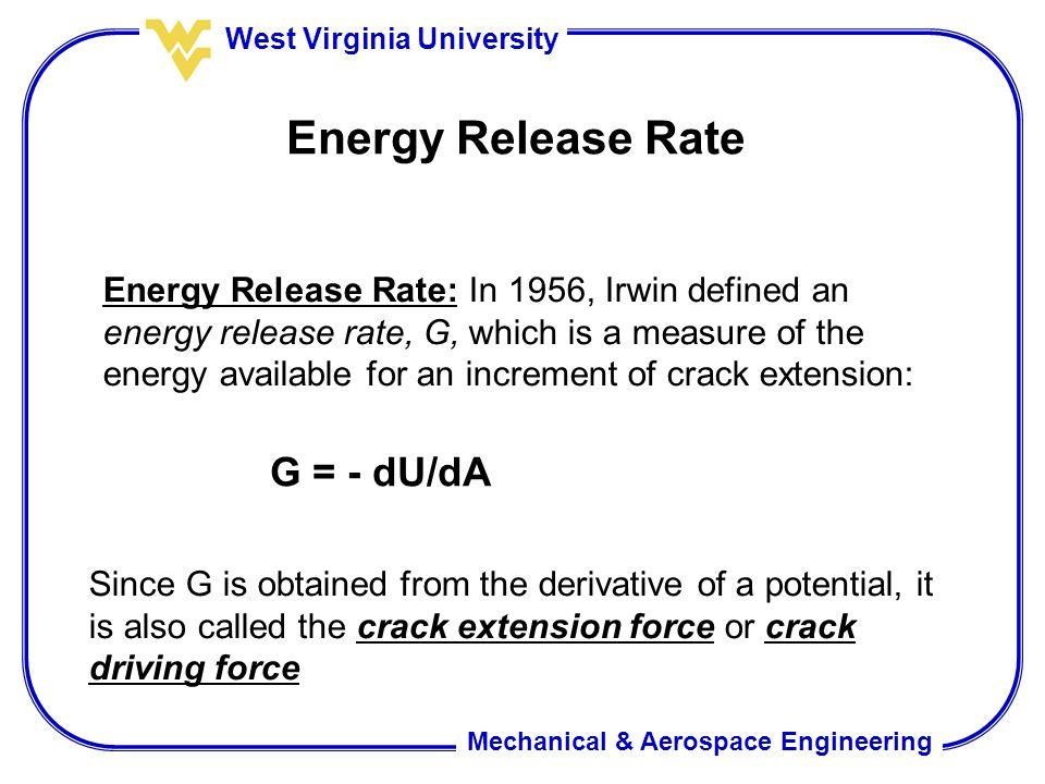 Energy Release Rate G = - dU/dA
