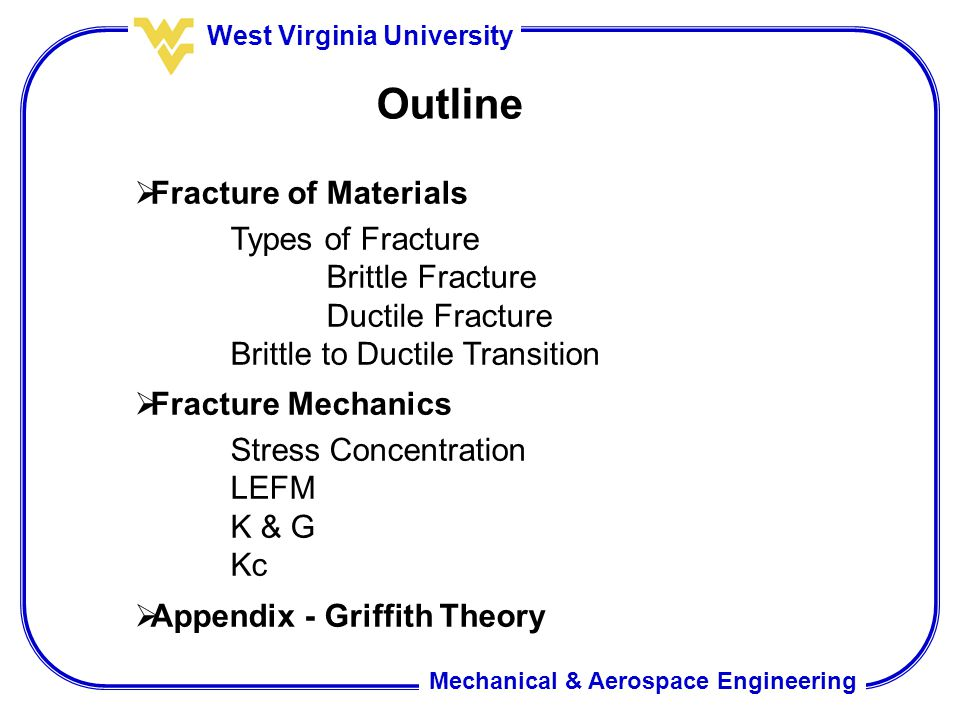 Outline Fracture of Materials Types of Fracture Brittle Fracture