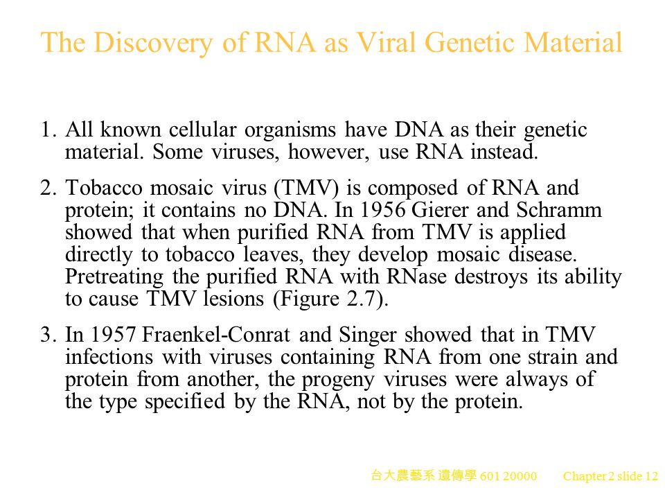 The Discovery of RNA as Viral Genetic Material
