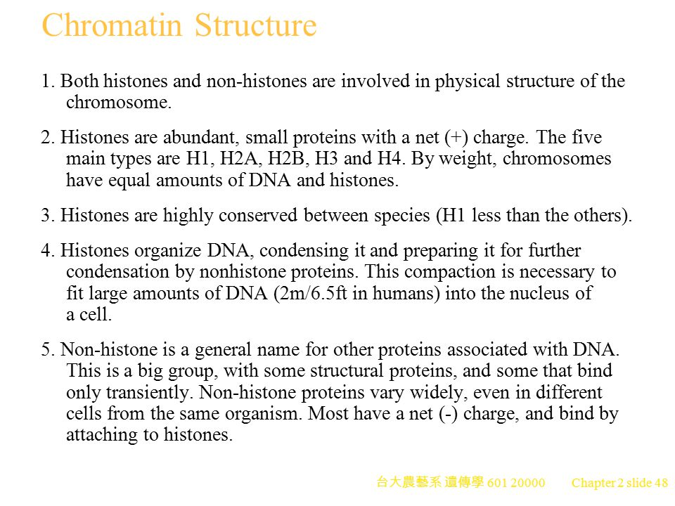 Chromatin Structure 1. Both histones and non-histones are involved in physical structure of the chromosome.