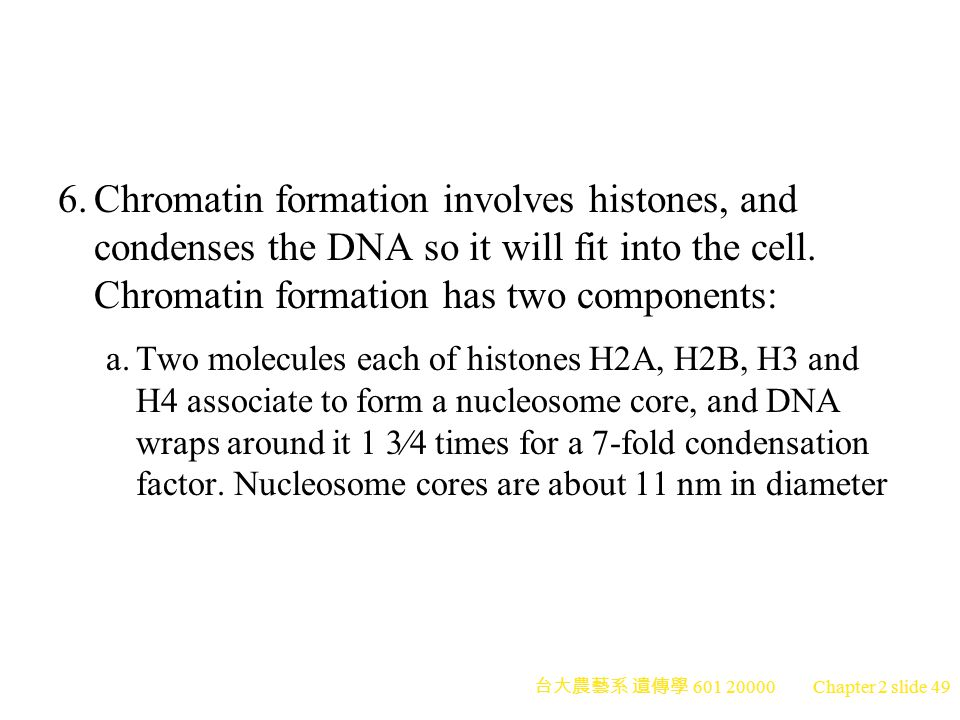 6. Chromatin formation involves histones, and condenses the DNA so it will fit into the cell. Chromatin formation has two components: