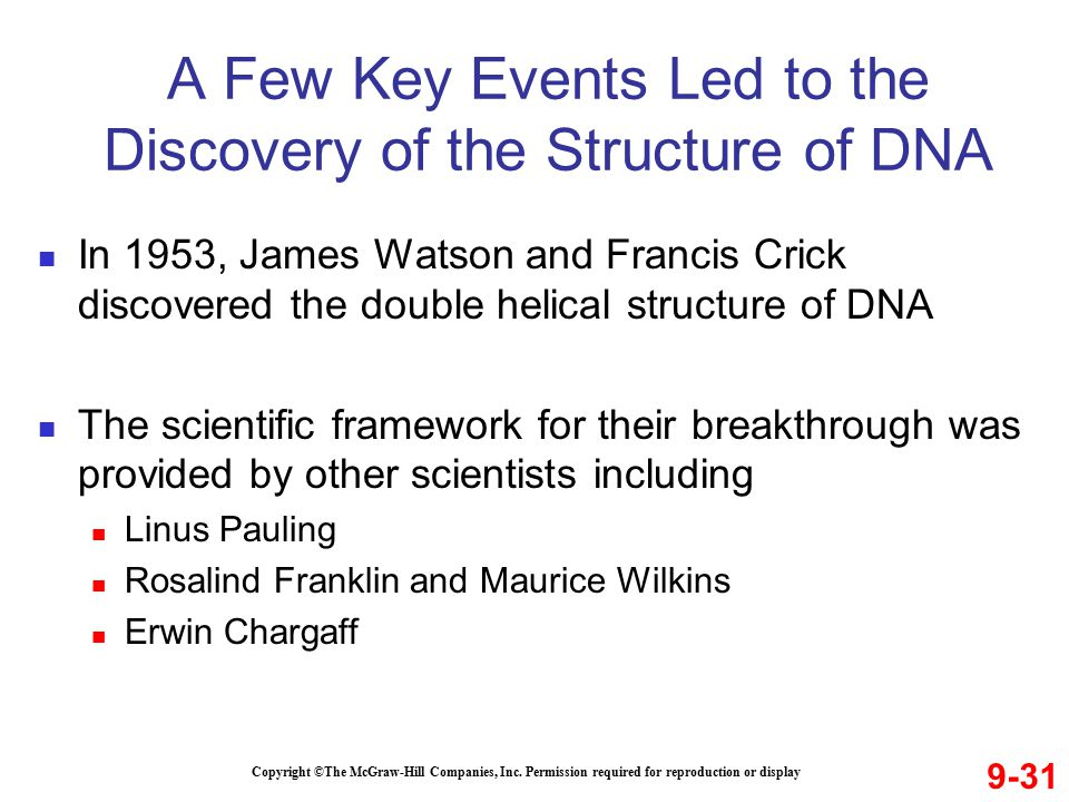 A Few Key Events Led to the Discovery of the Structure of DNA