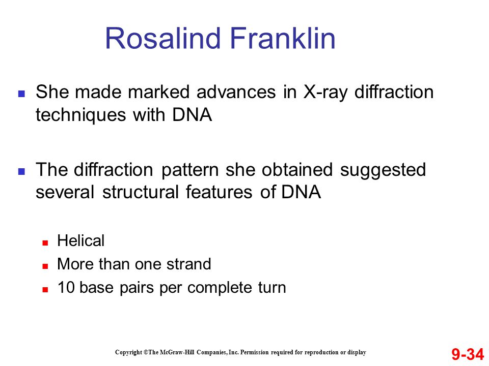 Rosalind Franklin She made marked advances in X-ray diffraction techniques with DNA.