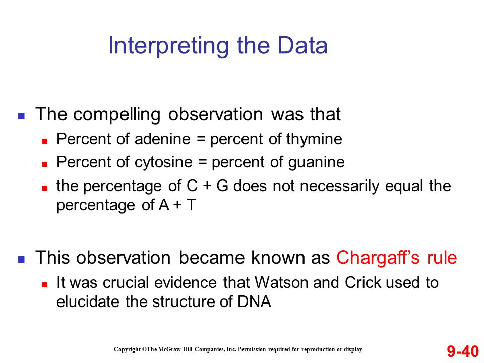 Interpreting the Data The compelling observation was that