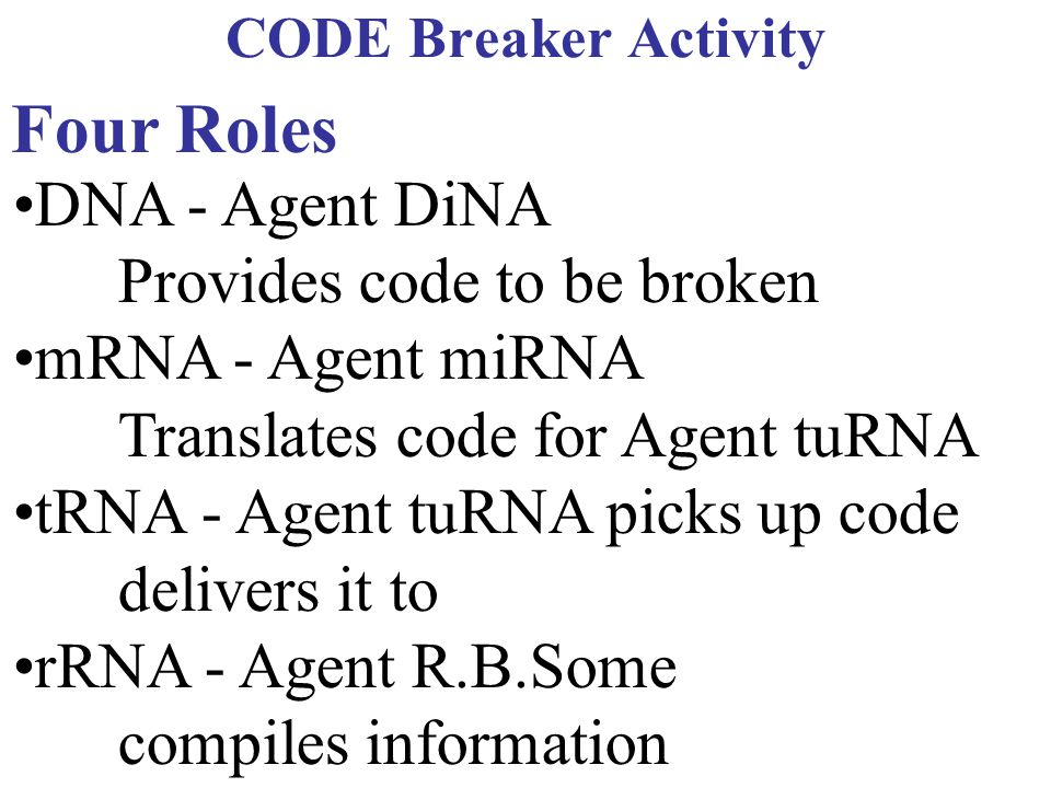 Four Roles •DNA - Agent DiNA Provides code to be broken