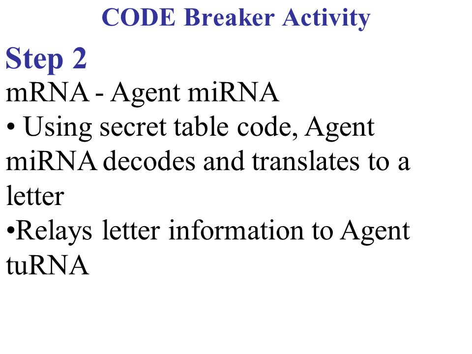 CODE Breaker Activity Step 2. mRNA - Agent miRNA. • Using secret table code, Agent miRNA decodes and translates to a letter.