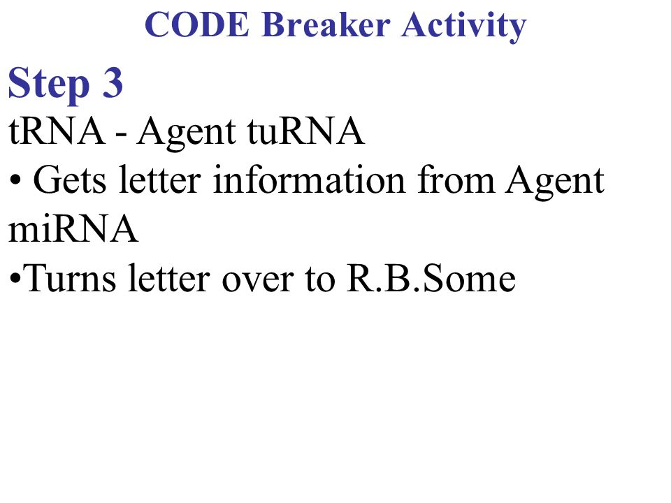 Step 3 tRNA - Agent tuRNA • Gets letter information from Agent miRNA