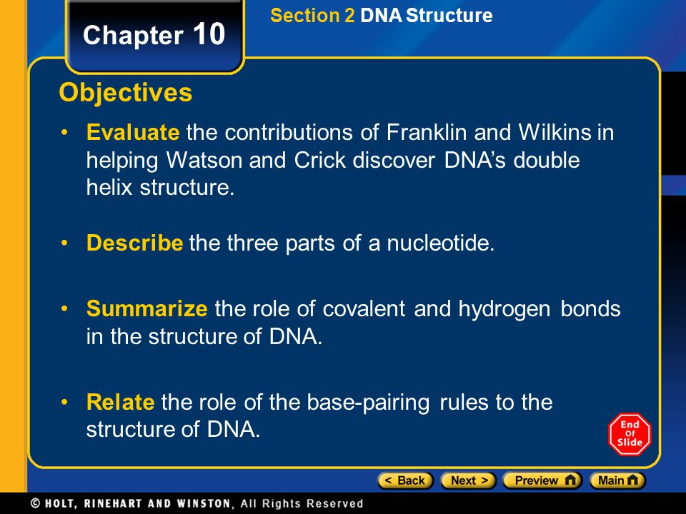 Section 2 DNA Structure Chapter 10. Objectives.