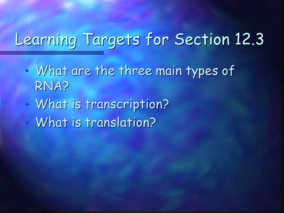 Learning Targets for Section 12.3