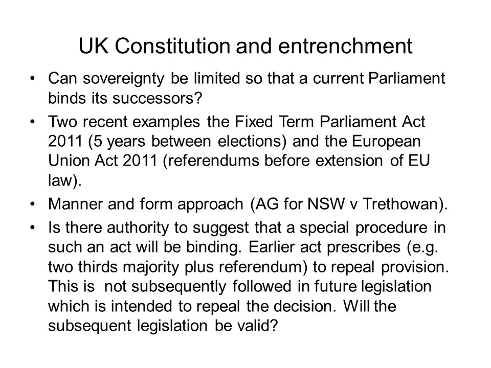 UK Constitution and entrenchment
