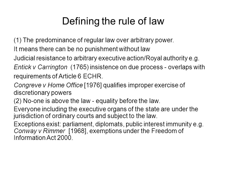 Defining the rule of law