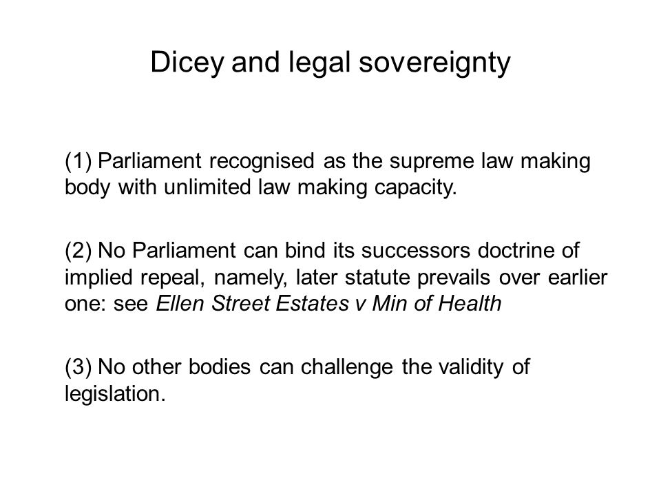 Dicey and legal sovereignty
