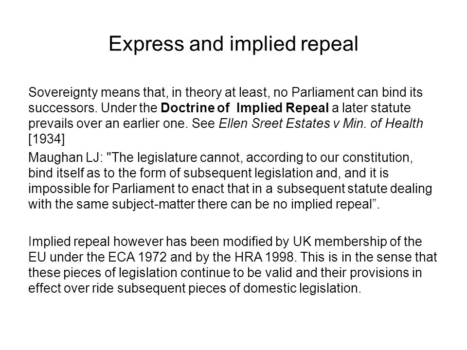 Express and implied repeal