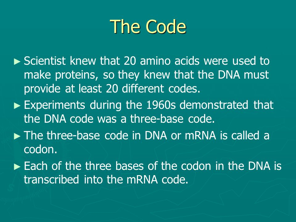 The Code Scientist knew that 20 amino acids were used to make proteins, so they knew that the DNA must provide at least 20 different codes.