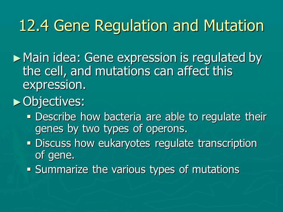 12.4 Gene Regulation and Mutation