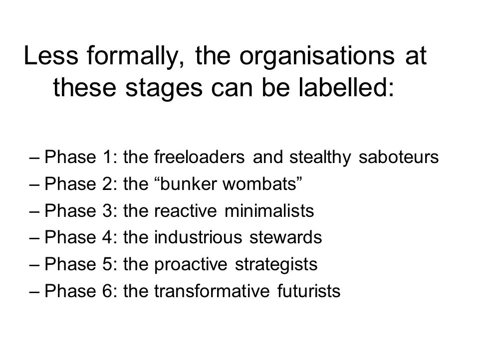 Less formally, the organisations at these stages can be labelled: