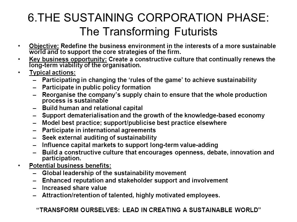 6.THE SUSTAINING CORPORATION PHASE: The Transforming Futurists