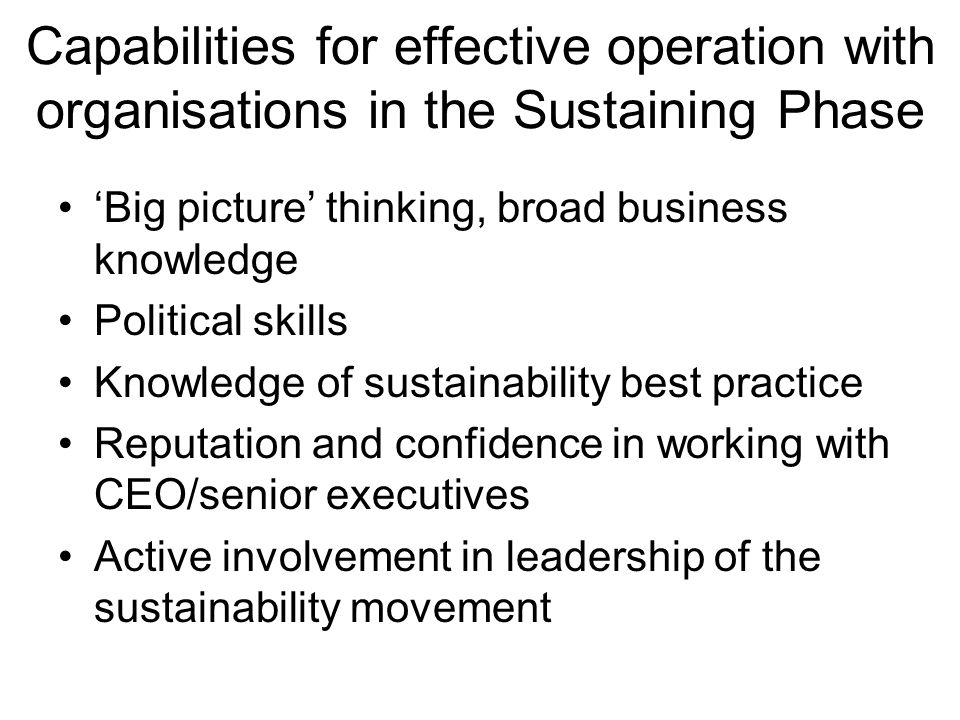Capabilities for effective operation with organisations in the Sustaining Phase