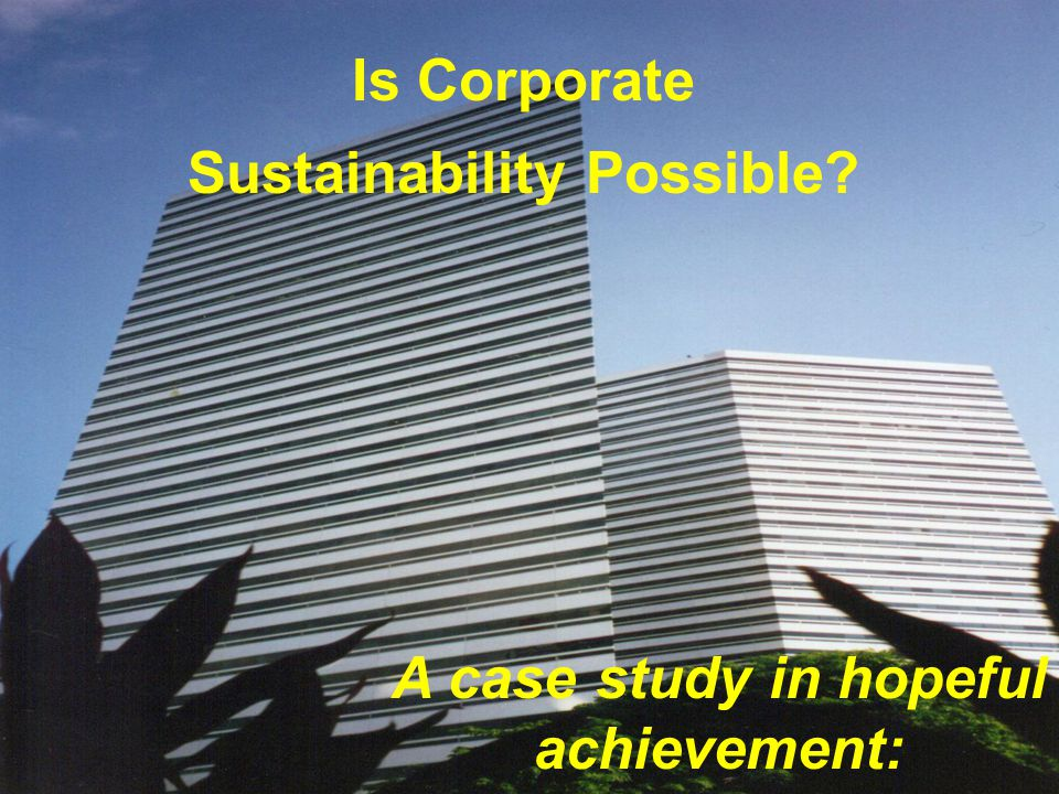 Is Corporate Sustainability Possible