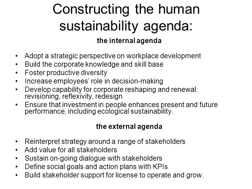 Constructing the human sustainability agenda: