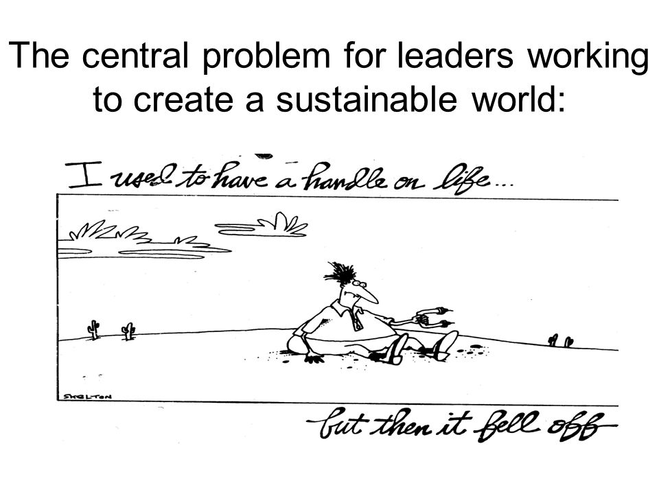 The central problem for leaders working to create a sustainable world: