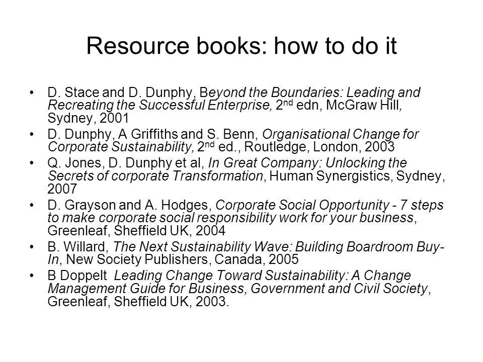 Resource books: how to do it
