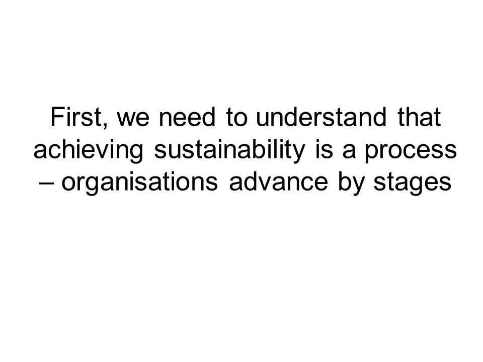 First, we need to understand that achieving sustainability is a process – organisations advance by stages