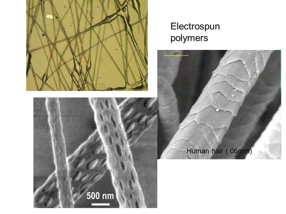 Electrospun polymers Human hair (.06mm)