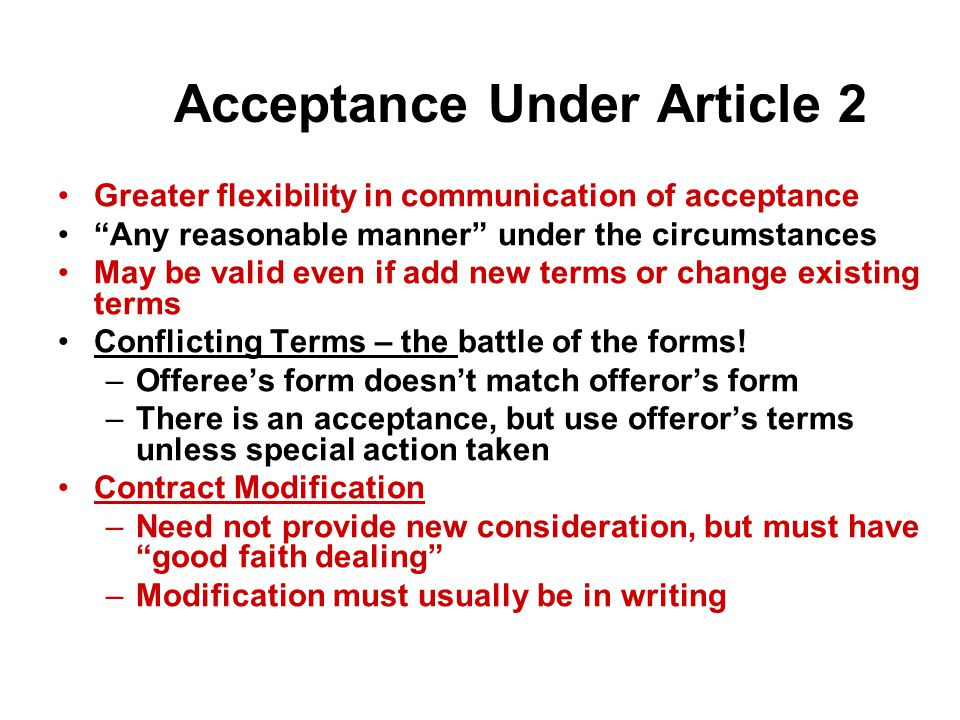 Acceptance Under Article 2