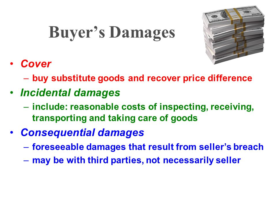 Buyer's Damages Cover Incidental damages Consequential damages