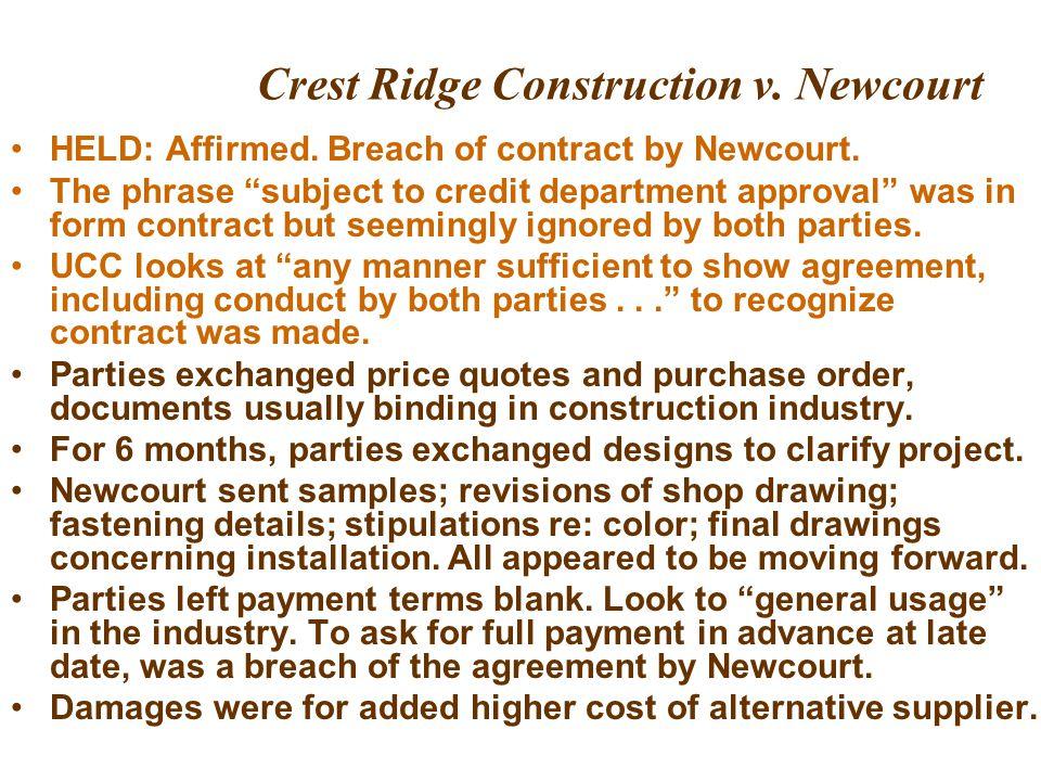 Crest Ridge Construction v. Newcourt