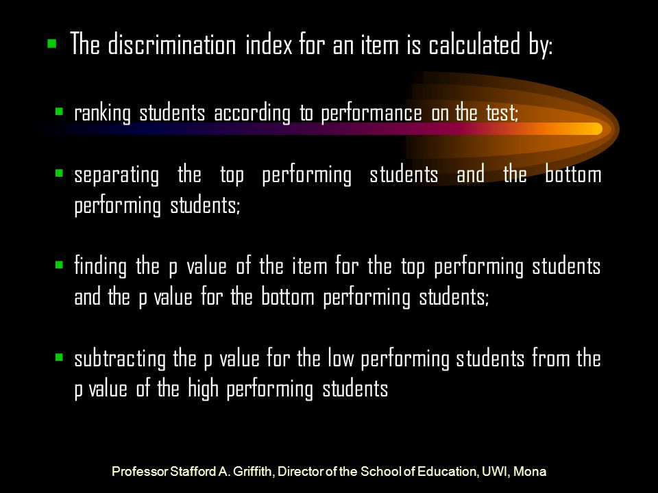 The discrimination index for an item is calculated by:
