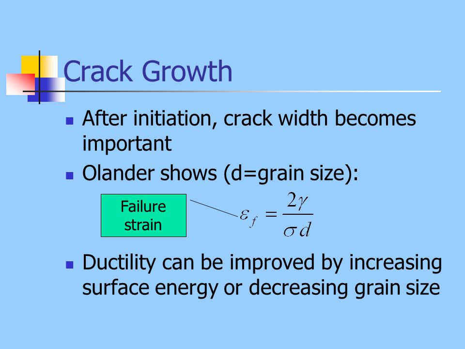 Crack Growth After initiation, crack width becomes important