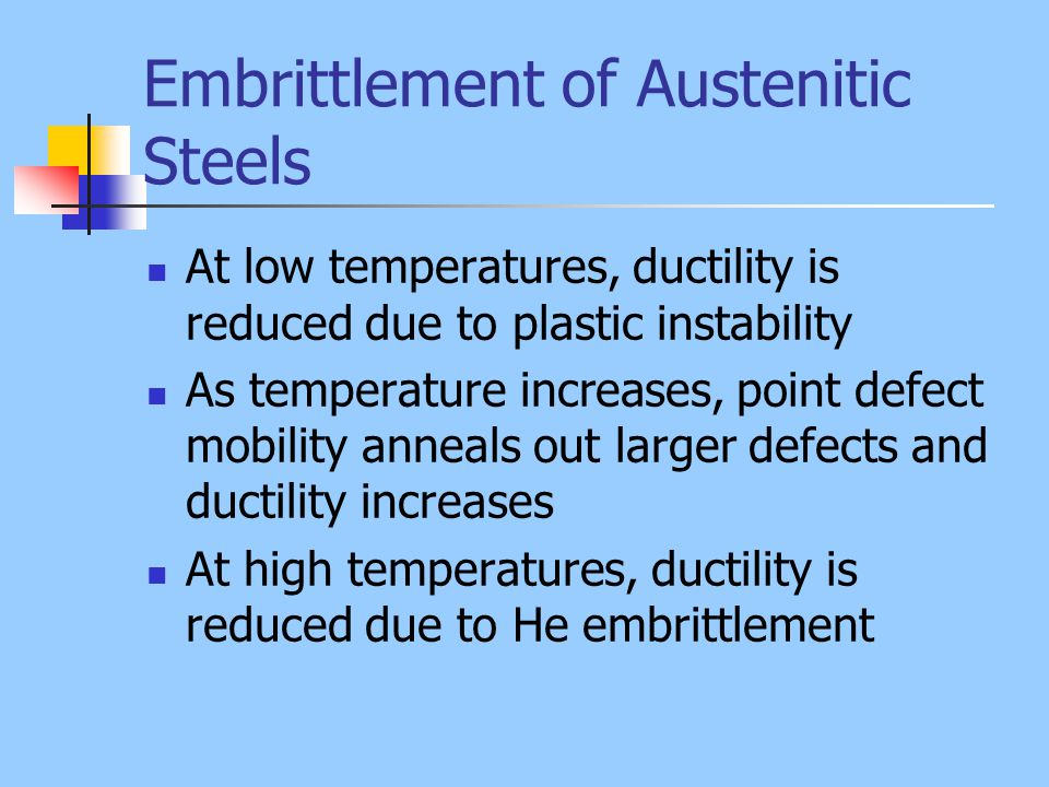 Embrittlement of Austenitic Steels