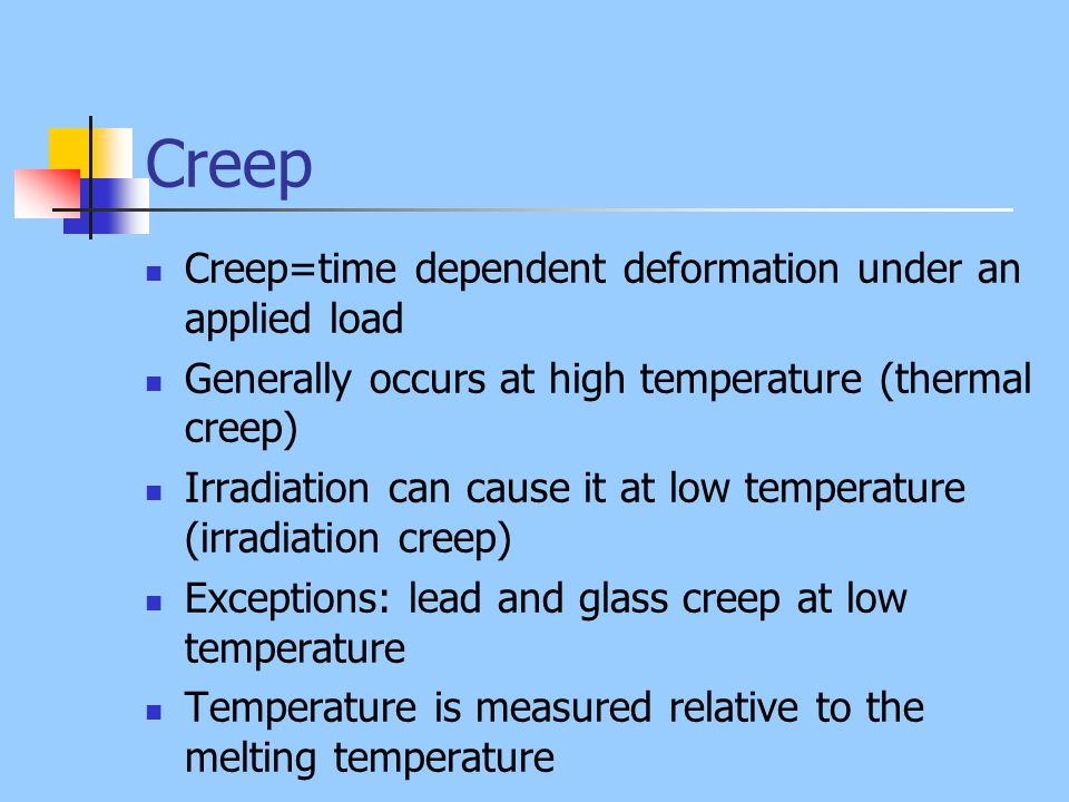 Creep Creep=time dependent deformation under an applied load