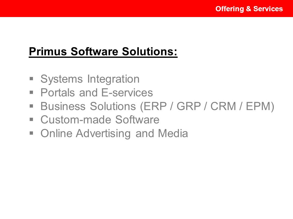 Primus Software Solutions: Systems Integration Portals and E-services