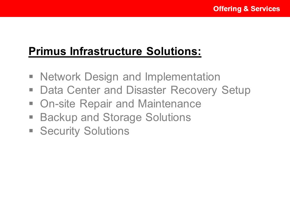 Primus Infrastructure Solutions: Network Design and Implementation