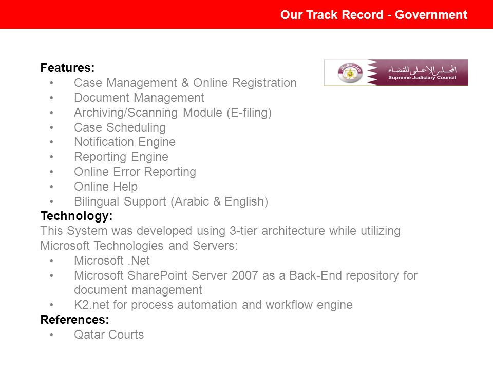 Our Track Record - Government E-Court System-Mahakim