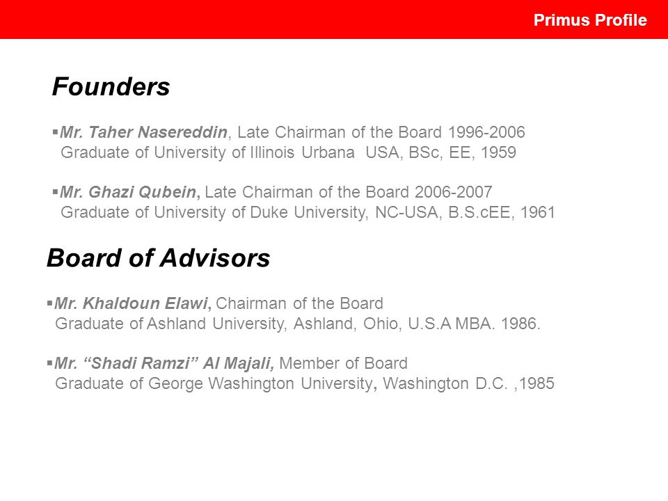 Founders Board of Advisors Primus Profile