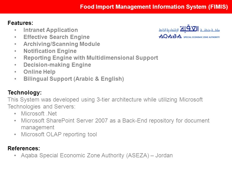 Food Import Management Information System (FIMIS)