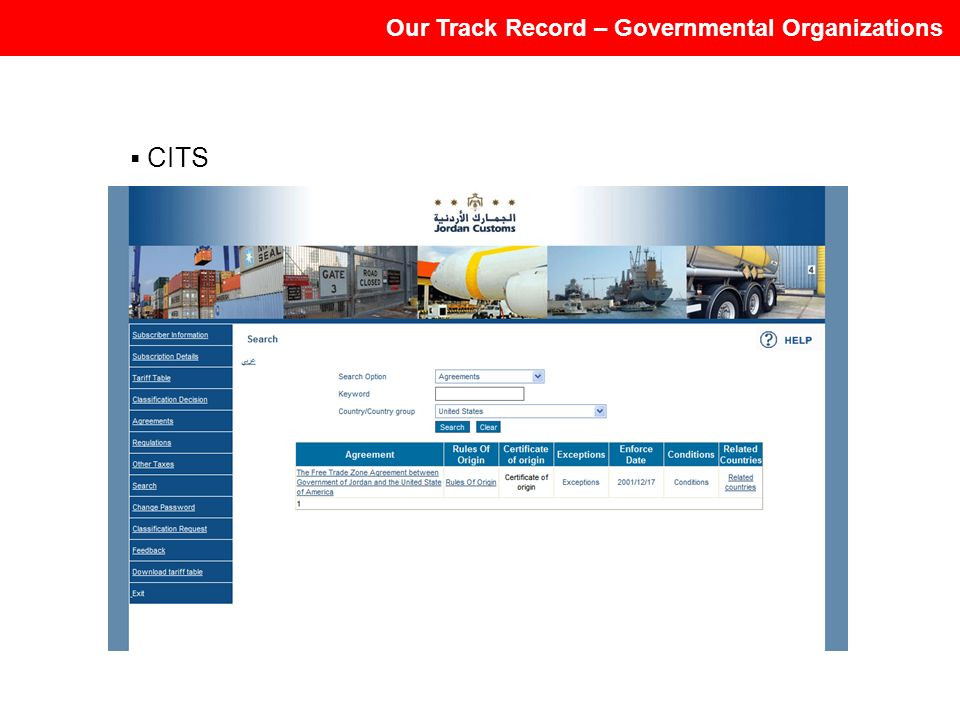 Our Track Record – Governmental Organizations